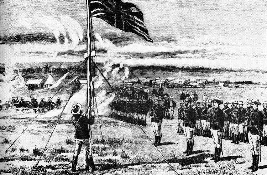 The First British Flag At Fort Salisbury (ca. 1890)